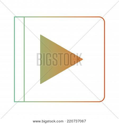 play button icon in degraded green to red color silhouette vector illustration