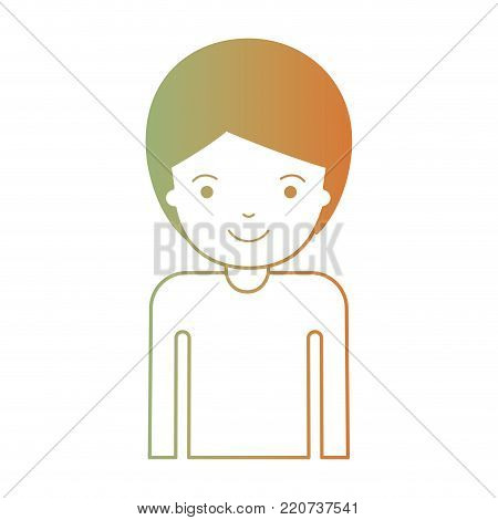 half body man with short hair in degraded green to red color silhouette vector illustration
