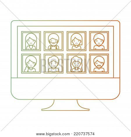 people gallery picture profiles social network in monitor screen in degraded green to red color silhouette vector illustration