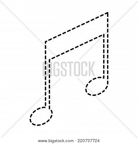 musical note icon in black dotted silhouette vector illustration