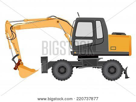 Image of a yellow excavator on a wheeled chassis - vector