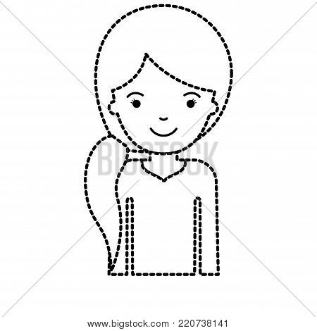half body woman with pigtail hairstyle in black dotted silhouette vector illustration