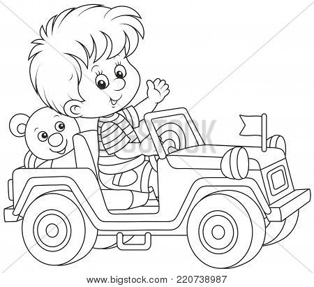 Little boy playing in a toy off road car, a black and white vector illustration in cartoon style for a coloring book