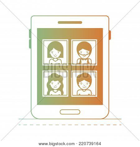 people picture profiles social network in tablet device screen in degraded green to red color silhouette vector illustration