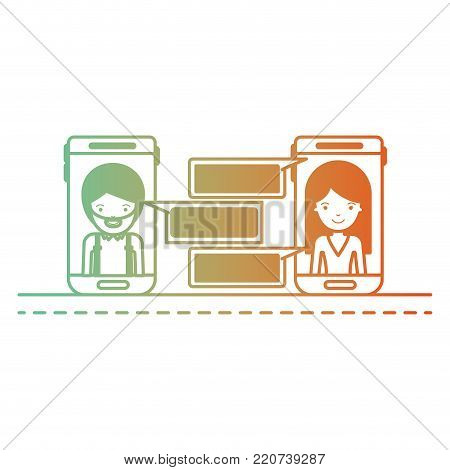man and woman social network chat in smartphone in degraded green to red color silhouette vector illustration