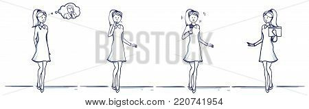 Set of business woman cartoon illustration. Stands scenes: She is happy, remembers the man, coughs, fell ill, holds a folder, with a microphone, sings or speaks.Hand drawn doodle vector illustration.