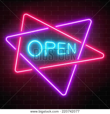 Neon open signboard in crossing triangles frames on a dark brick wall background. Round the clock working shop or nightclub sign. Vector illustration.