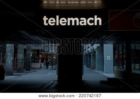 LJUBLJANA, SLOVENIA - DECEMBER 16, 2017: Logo of Telemach operator in front of their office for Ljubljana. Telemach is the third largest phone operator in Slovenia, acting as an Internet Service Provider as well.
