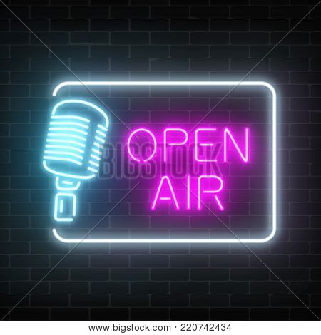 Neon open air signboard with microphone in restangle. Nightclub with live speaking concert icon. Glowing street sign of bar with karaoke and live singers. Sound cafe icon. Vector illustration.