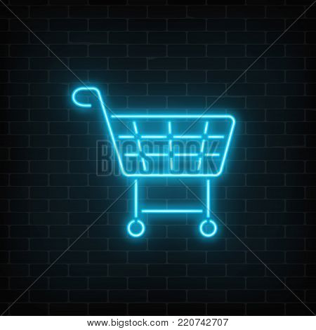 Glowing neon supermarket shopping cart sign on a dark brick wall background. Light effects store basket. Vector illustration.