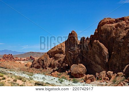 Sandstone rocks at Valley Of Fire State Park Nevada USA