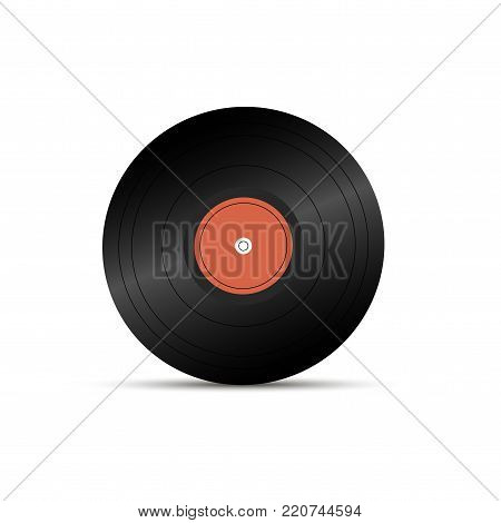 Realistic LP record icon, gramophone music object, vinyl disk record, Vector illustration.