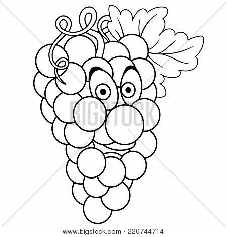 Coloring book. Coloring page. Cartoon Grapes character. Happy fruit symbol. Food icon. Freehand sketch drawing. Design element for kids t-shirt print, labels, patches or stickers.