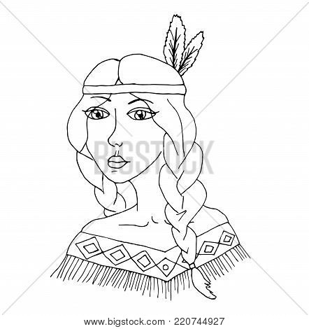 Native american indian girl in cartoon style. Vector girl.