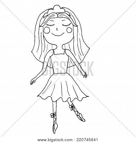 Vector uncolored ballet girl in cute dress and shoes.