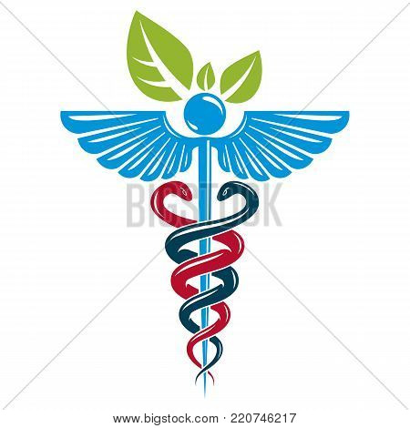 Caduceus Symbol Composed With Poisonous Snakes And Bird Wings Healthcare Conceptual Vector Illustration Alternative