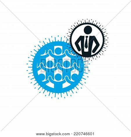 Mankind and Person conceptual logo, unique vector symbol created with different icons. System and social Matrix sign. Person and world interacts with each other. System and social Matrix sign. Social Leader.