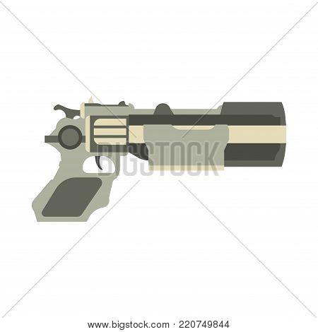 Gun futuristic weapon vector illustration blaster game laser space pistol. Handgun ray future science fiction cartoon