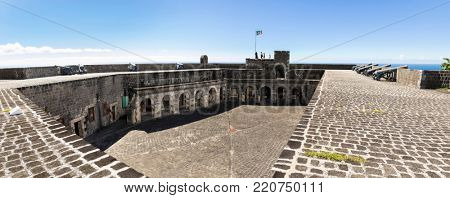 ST. KITTS, ST KITTS AND NEVIS-DECEMBER 13, 2017: View of Brimstone Fortress, the ruins of a British colonial fortress and a Unesco World Heritage Site on St Kitts.