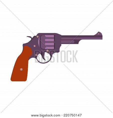 Gun retro vector art vintage illustration revolver pistol weapon cowboy background. Old design cartoon west western gangster icon style