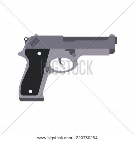 Gun isolated vector silhouette illustration pistol white weapon icon. Man hand rifle background design black handgun