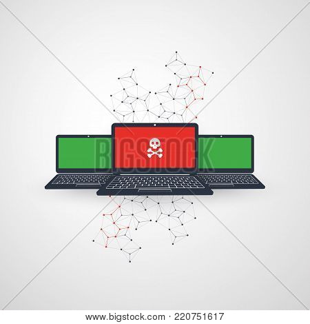 Network Vulnerability, Protection Against Hacker Attack - IT Security Concept Design, Vector illustration