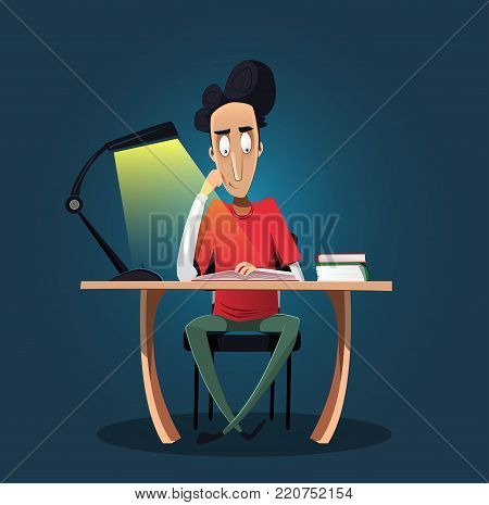 Fun confident young boy studying late at night. He is sitting at desk and reading a book. Education concept. Flat cartoon vector illustration