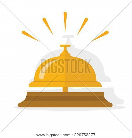 Hotel bell, service bell, reception bell icon. Flat vector illustration.