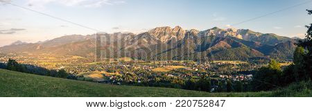 Inspiring Mountains Landscape Panorama, beautiful day in summer Tatras, mountain ridge over blue sky in Zakopane, Poland