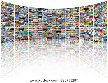 Big multimedia video and image wall of the TV screen