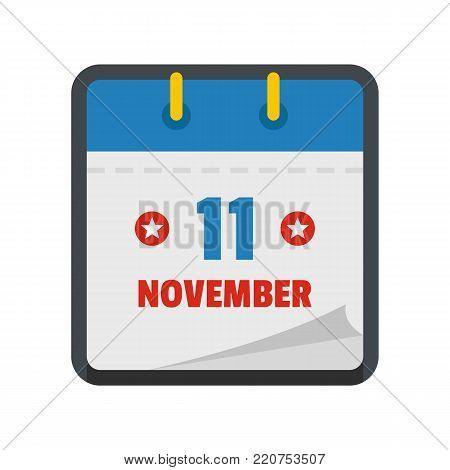 Calendar eleventh november icon. Flat illustration of calendar eleventh november vector icon isolated on white background