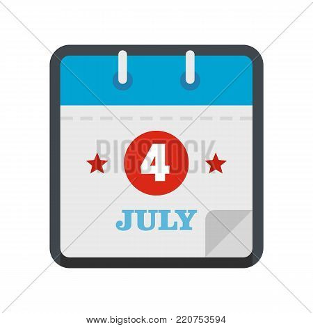 Calendar eleventh november icon. Flat illustration of calendar fourth july vector icon isolated on white background
