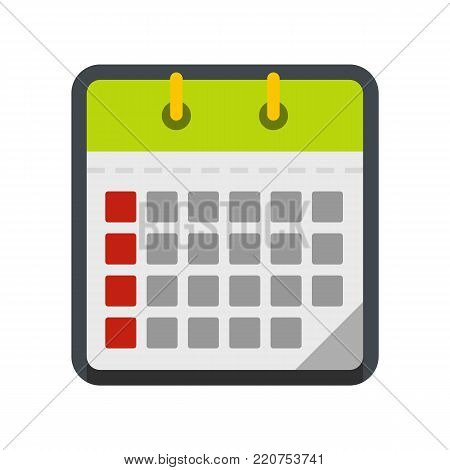 Calendar office icon. Flat illustration of calendar office vector icon isolated on white background