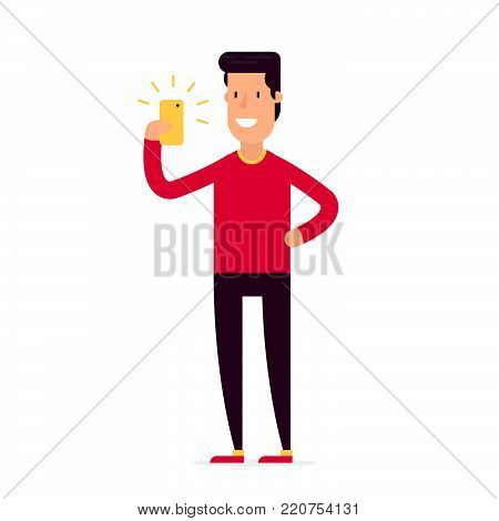 Vector creative character design of young man standing full length trying to make a self portrait with mobile device in hand or are looking for a right location via mobile application