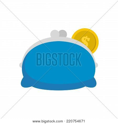 Purse woman icon. Flat illustration of purse woman vector icon isolated on white background