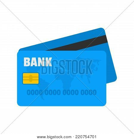 Credit card icon. Flat illustration of credit card vector icon isolated on white background