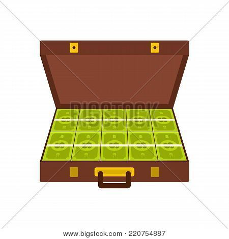 Suitcase money icon. Flat illustration of suitcase money vector icon isolated on white background