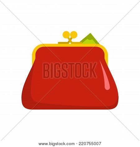 Purse retro icon. Flat illustration of purse retro vector icon isolated on white background