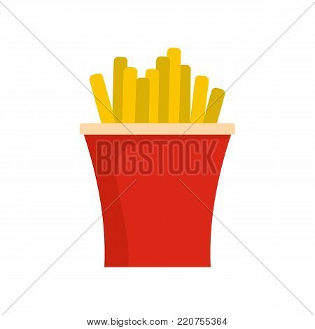 French fries icon. Flat illustration of french fries vector icon isolated on white background