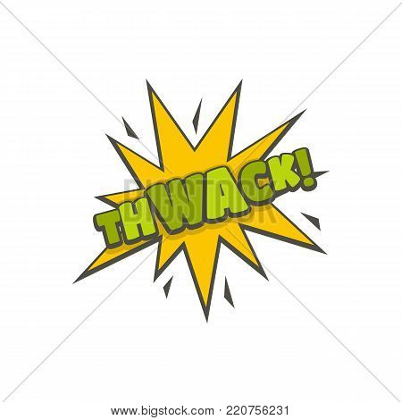 Comic boom thwack icon. Flat illustration of comic boom thwack vector icon isolated on white background