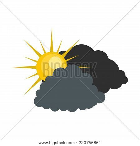 Dark cloudy sun icon. Flat illustration of dark cloudy sun vector icon isolated on white background