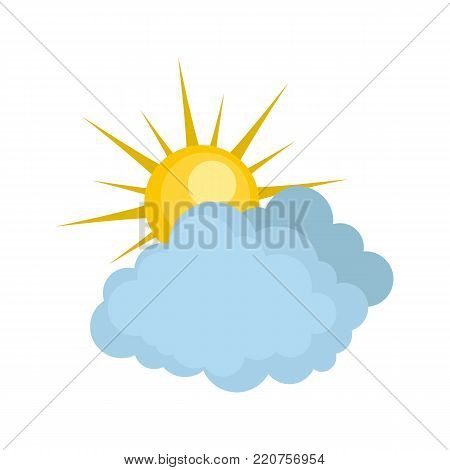 Blue cloudy sun icon. Flat illustration of blue cloudy sun vector icon isolated on white background
