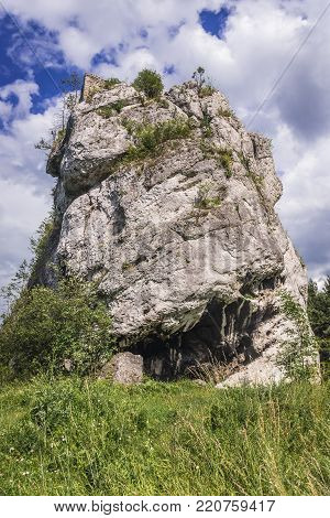 Ruined watchtower on the limestone rock in Polish Jurassic Highland, Silesia region in Poland