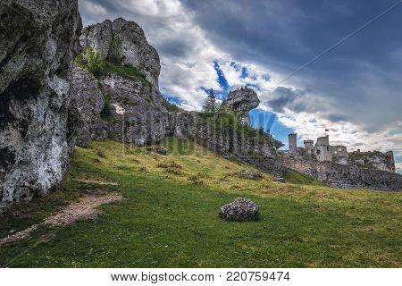 Limestone rocks and Ogrodzieniec Castle in Polish Jurassic Highland, Silesia region in Polandrocks and Ogrodzieniec Castle in Polish Jurassic Highland, Silesia region in Poland