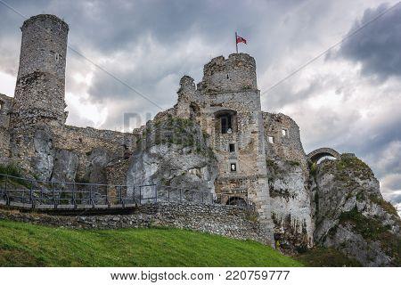 Famous Ogrodzieniec Castle in Polish Jurassic Highland, Silesia region in Poland