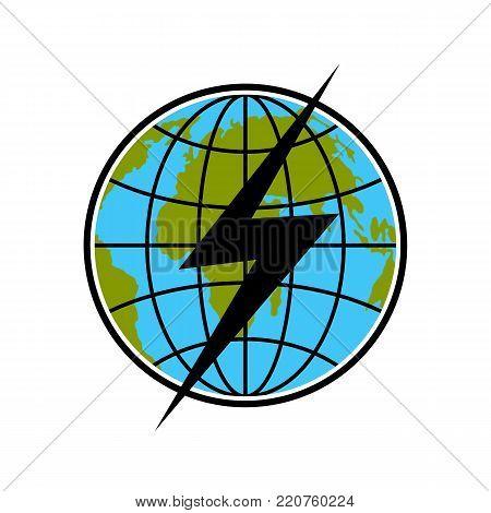 Lightning on earth icon. Flat illustration of lightning on earth vector icon isolated on white background