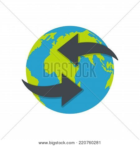 Moving earth icon. Flat illustration of moving earth vector icon isolated on white background