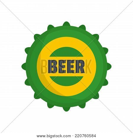 Beer cap icon. Flat illustration of beer cap vector icon isolated on white background