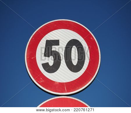 Regulatory signs, maximum speed limit 50 traffic sign
