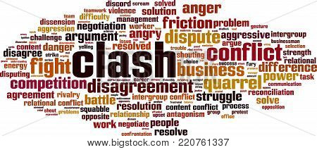 Clash word cloud concept. Vector illustration on white